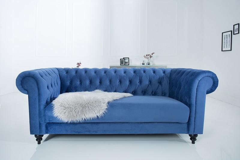 Sofa Chesterfield 200cm zamat blau