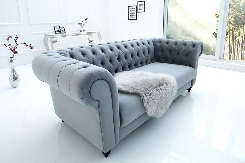 Sofa Chesterfield 200cm zamat sivá