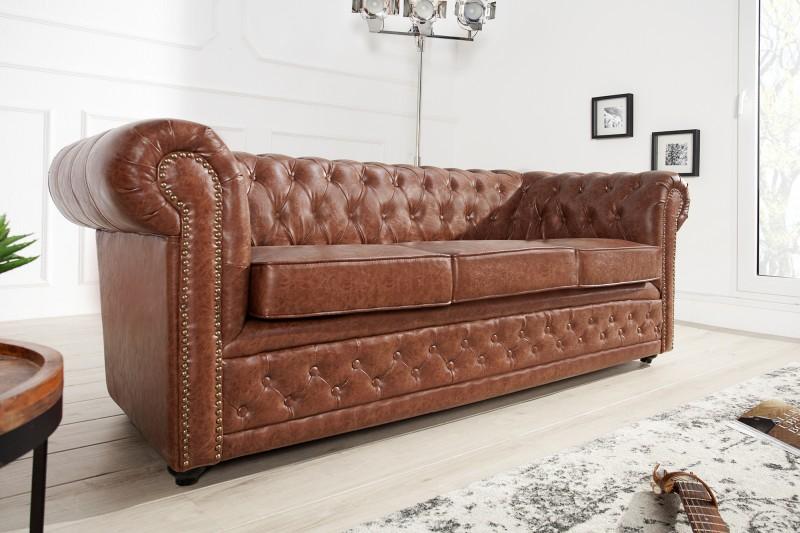 Sofa Chesterfield 3er Old Cigar hnedá