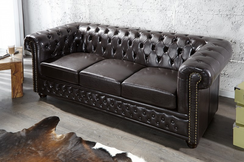 Sofa Chesterfield 3er dark coffee m.Nieten