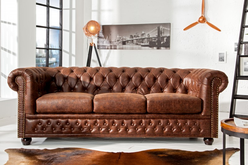 Sofa Chesterfield 3er vintage hnedá Leder