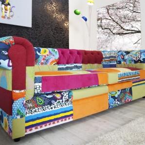 Sofa Chesterfield Patchwork farebné