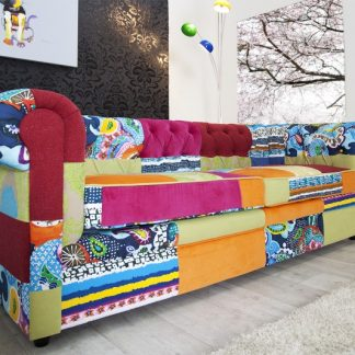 Sofa Chesterfield Patchwork farebné