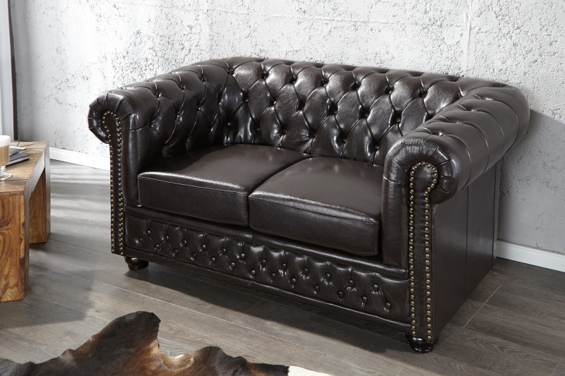 Sofa Chesterfield dvoják dark coffee m.Nieten