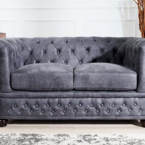 Sofa Chesterfield dvoják sivá antik look