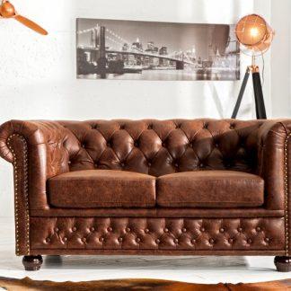 Sofa Chesterfield dvoják vintage hnedá Leder