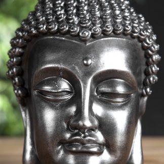 Soška Buddha Kopf 25cm strieborná čierna
