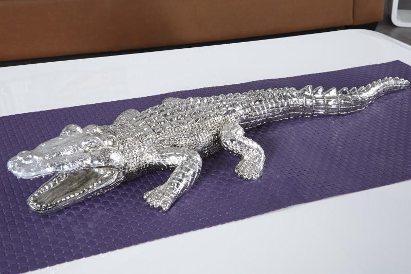 Soška Krokodil 60cm - strieborná