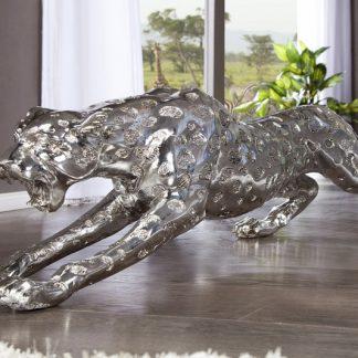 Soška Leopard 145cm antik strieborná