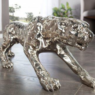 Soška Leopard 80cm antik strieborná