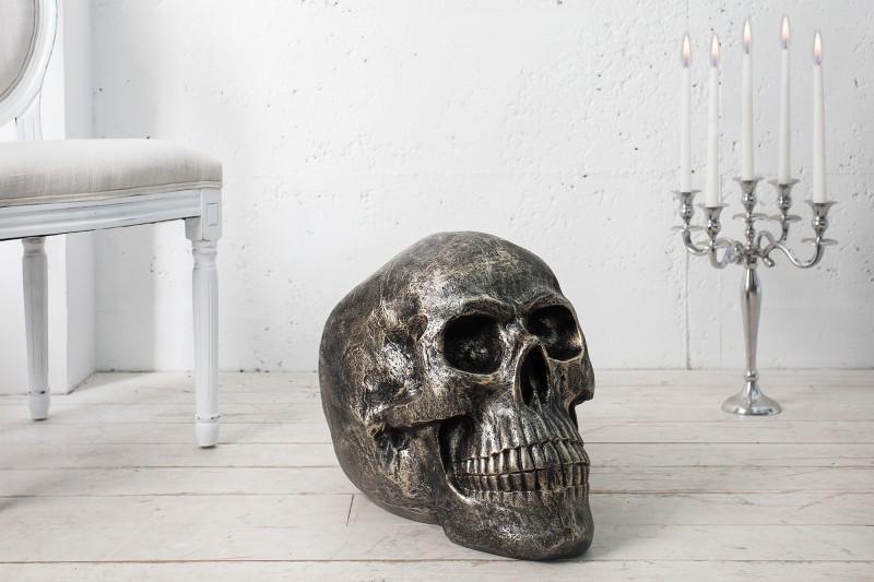 Soška Totenkopf Skull 40cm bronzový