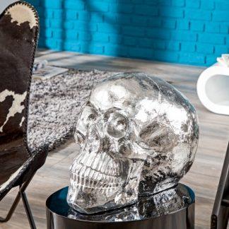 Soška Totenkopf Skull 40cm strieborná