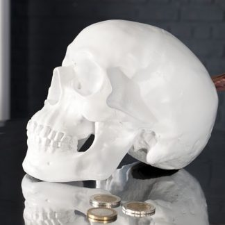 Spardose Skull 20cm biela