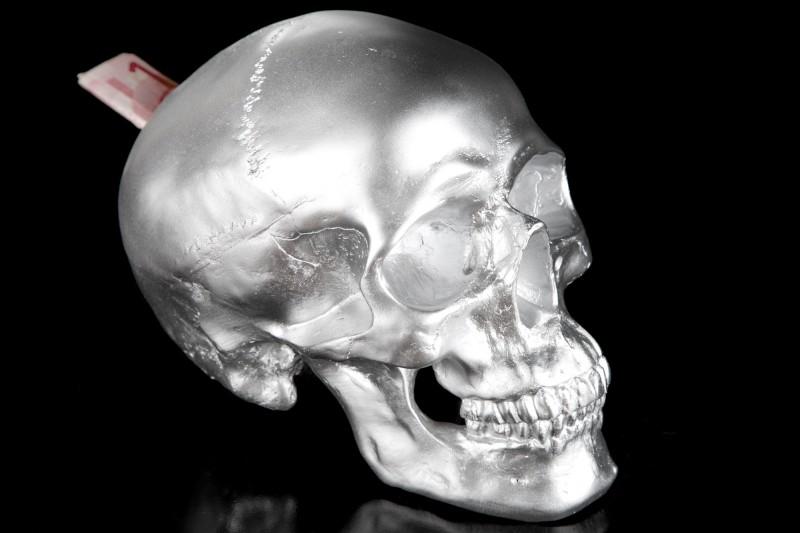 Spardose Skull 20cm strieborná