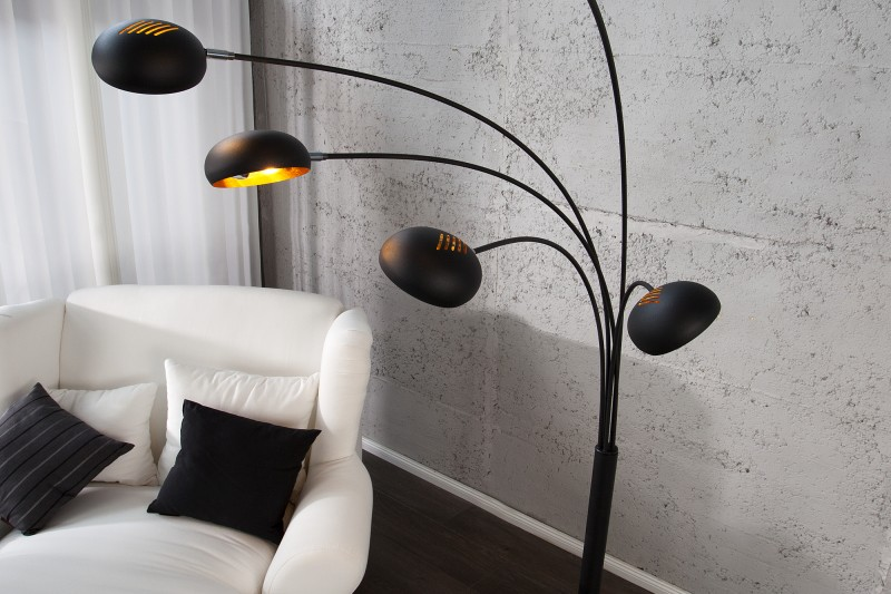 Stojanová lampa Five Lights čiernozlatá