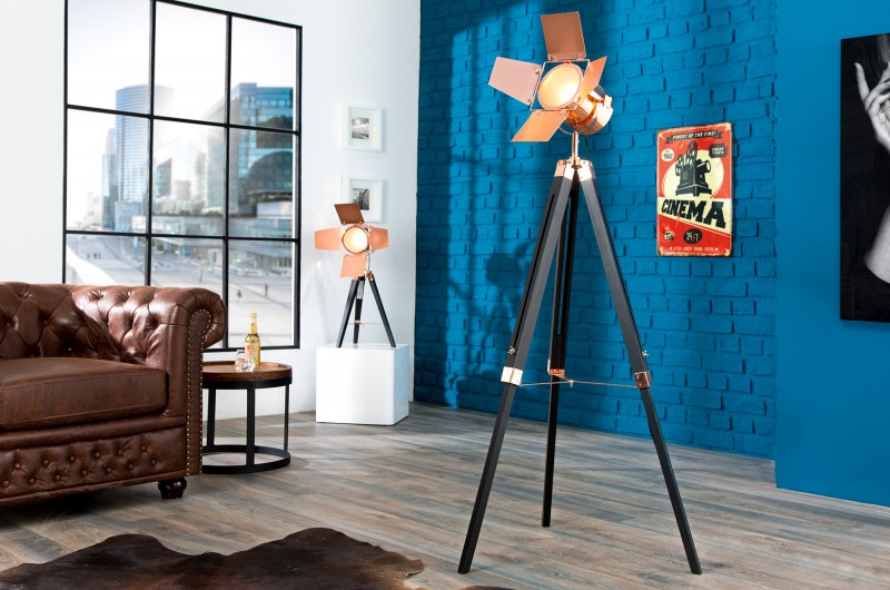 Stojanová lampa Hollywood 95-140cm čiernameď
