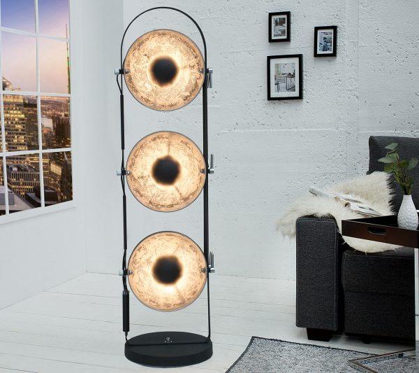 Stojanová lampa Studio čierna strieborná 3er