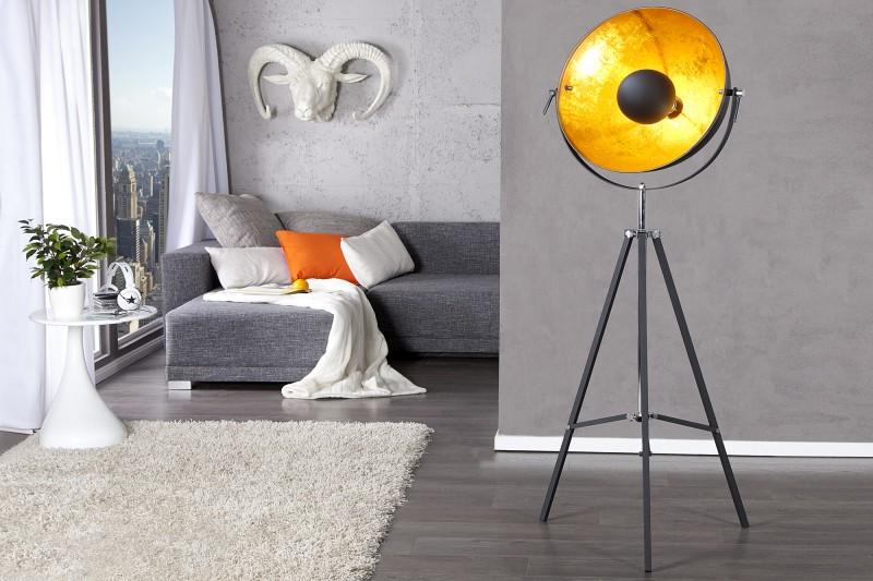 Stojanová lampa Studio čiernozlatá