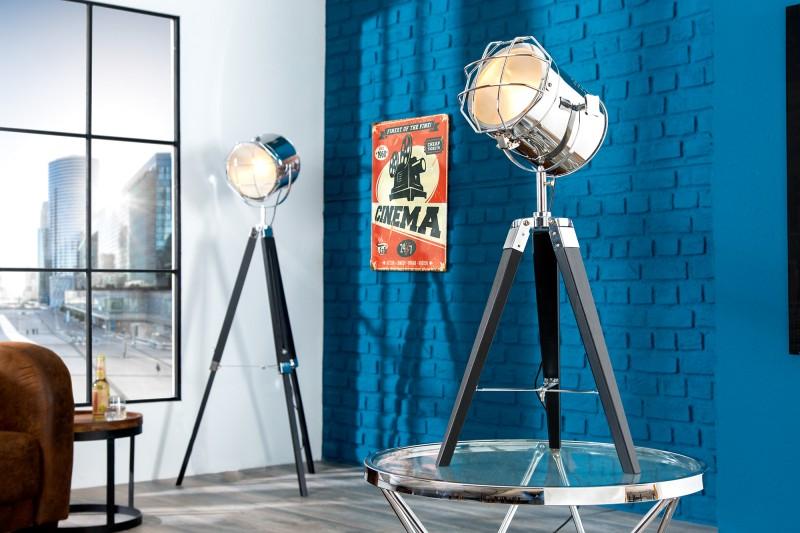 Stojanová lampa Tripod 65cm chróm čierna