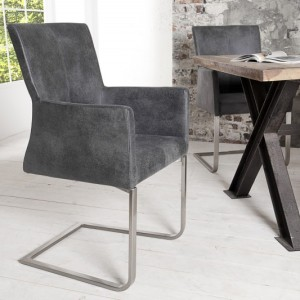 Stolička Samson Armlehne vintage sivá