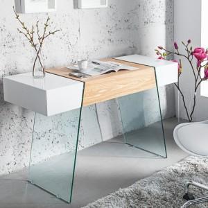 Stolík- Písací stôl Onyx 120cm biela sklo-dub