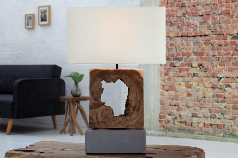 Stolová lampa - naplavené drevo Fusion biela