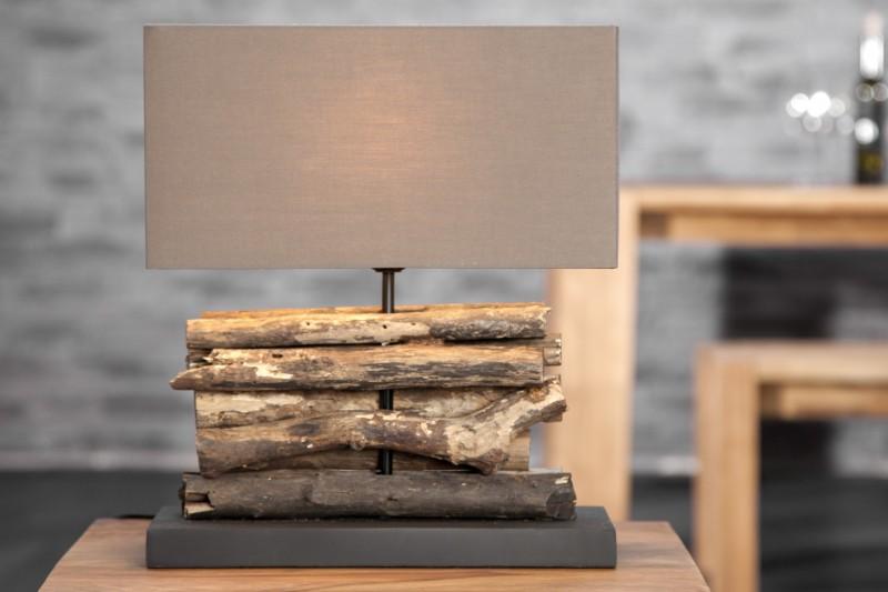 Stolová lampa - naplavené drevo Rerifere hnedá
