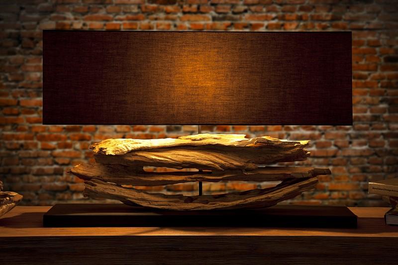 Stolová lampa - naplavené drevo Riverine čierna