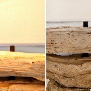 Stolová lampa - naplavené drevo Riverine prírodná