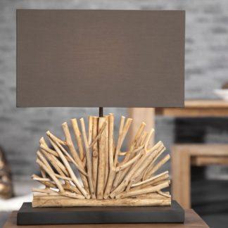 Stolová lampa - naplavené drevo Ventaglio hnedá