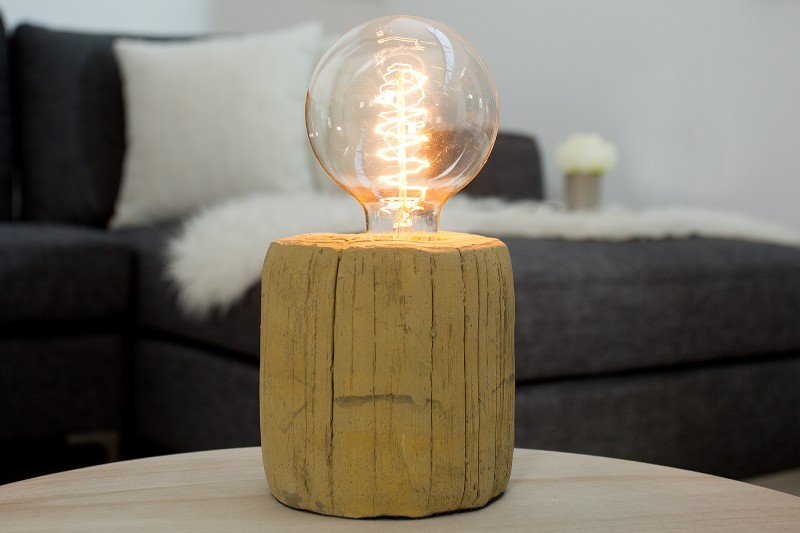 Stolová lampa Fossil Wood ocker betón