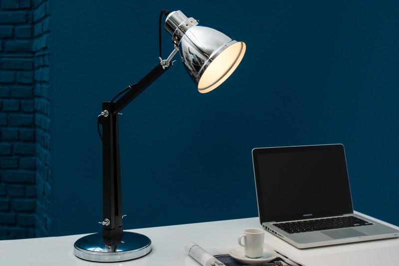Stolová lampa Industrial 60cm chróm čierna