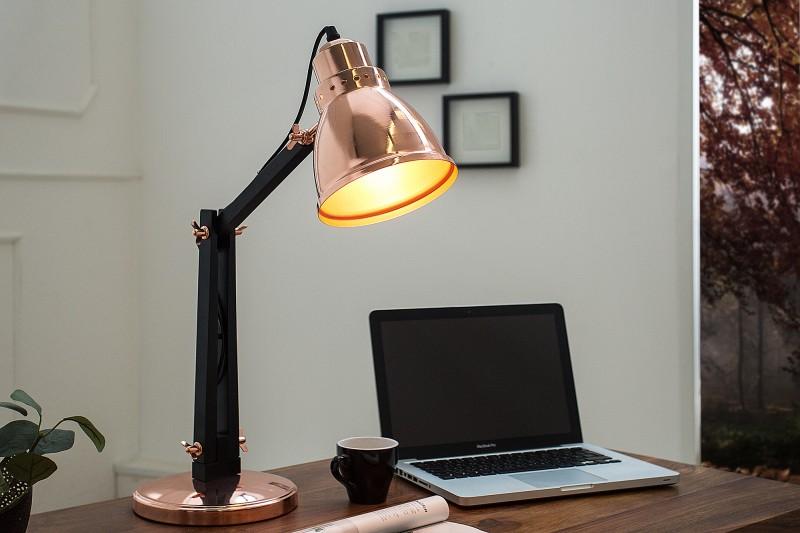 Stolová lampa Industrial 60cm meď čierna