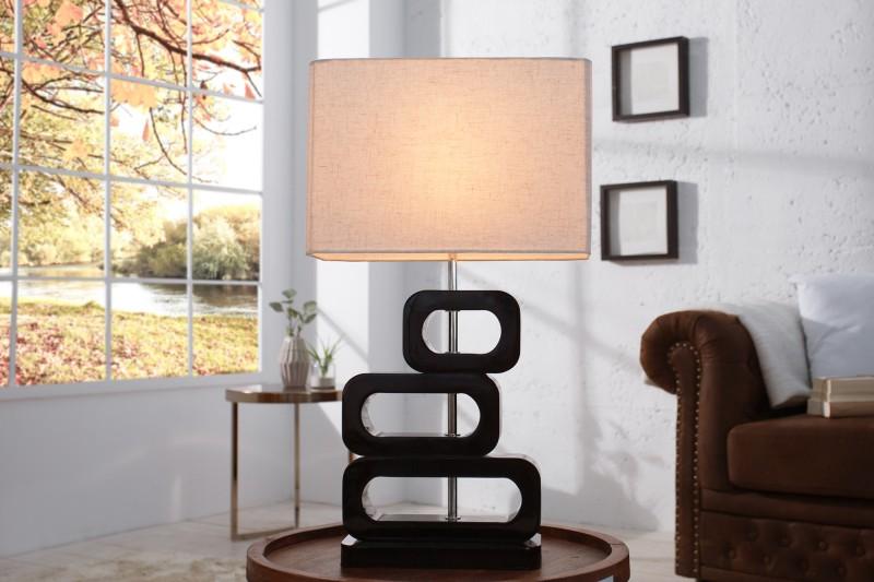 Stolová lampa Lara 65cm čierna tienidlo prírodná