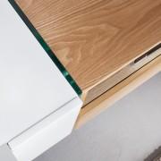 TV-stolík Onyx 160cm biela sklo-dub