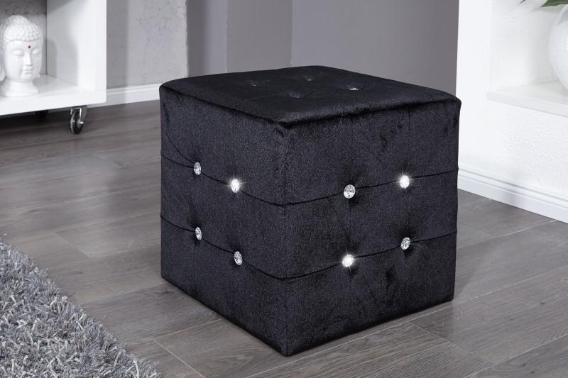 Taburet Boutique čierna / Strass