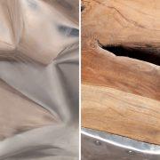 Taburet Symbiosis 45cm teakové drevo Alu