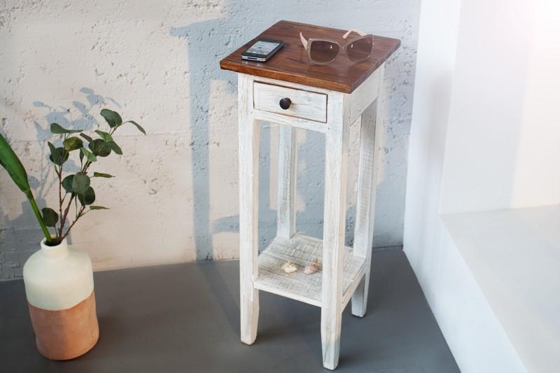 Telefontisch La Fleur biela recyklované drevo