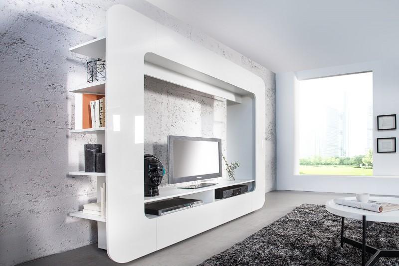 Wohnwand Cubus 185cm biela 3D Optik