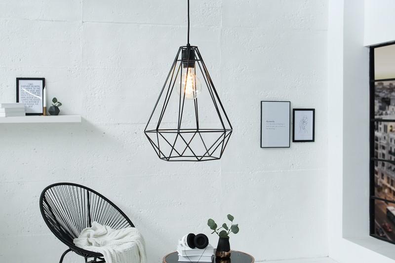 Závesná lampa Cage L čierna