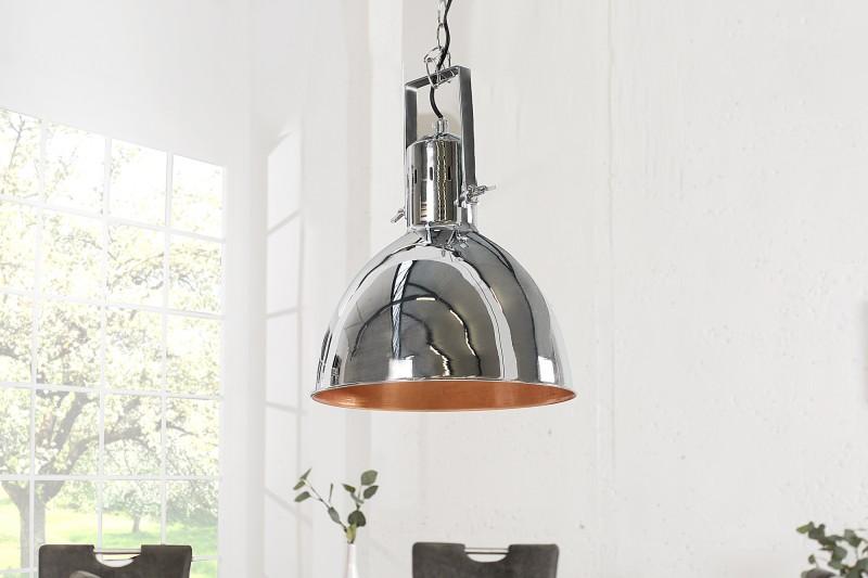 Závesná lampa Factory II 40cm chróm meď