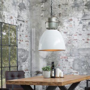 Závesná lampa Factory L 40cm biela strieborná