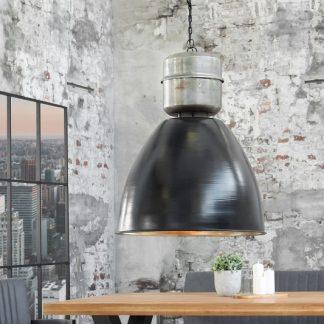 Závesná lampa Factory L 40cm čierna strieborná