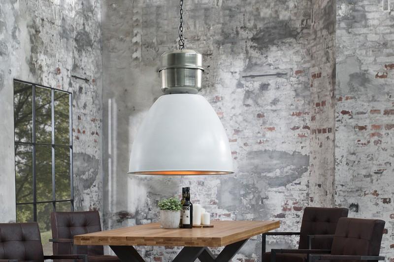Závesná lampa Factory XL 54cm biela strieborná