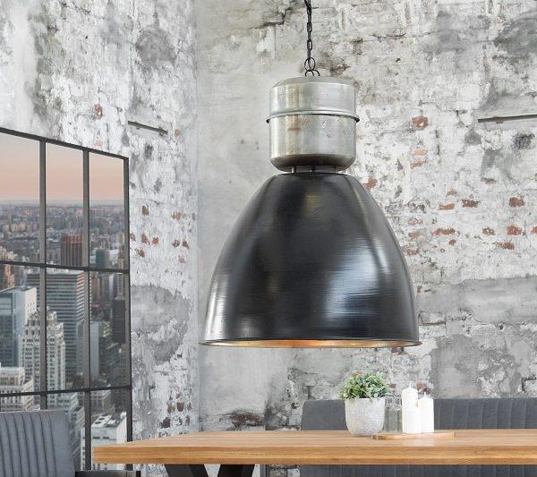 Závesná lampa Factory XL 54cm čierna strieborná
