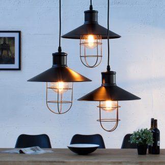 Závesná lampa Factory čierna