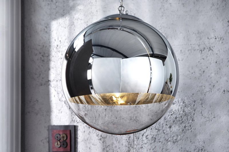 Závesná lampa Globe 40cm chróm