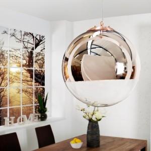 Závesná lampa Globe 40cm meď