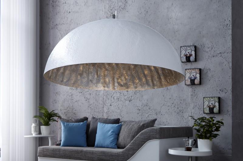 Závesná lampa Glow biela strieborná 70cm