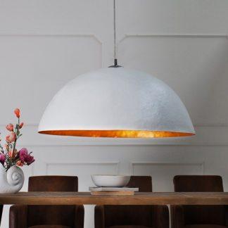 Závesná lampa Glow biela zlatá 70cm